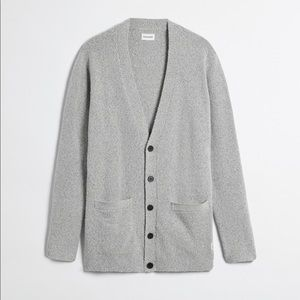 Frank & Oak Long boucle cardigan in mixed grey
